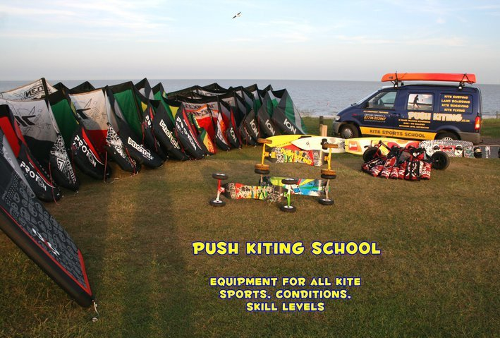 push kiting school, kitesurfing lessons, kite buggy tuition, kite landboard course in essex