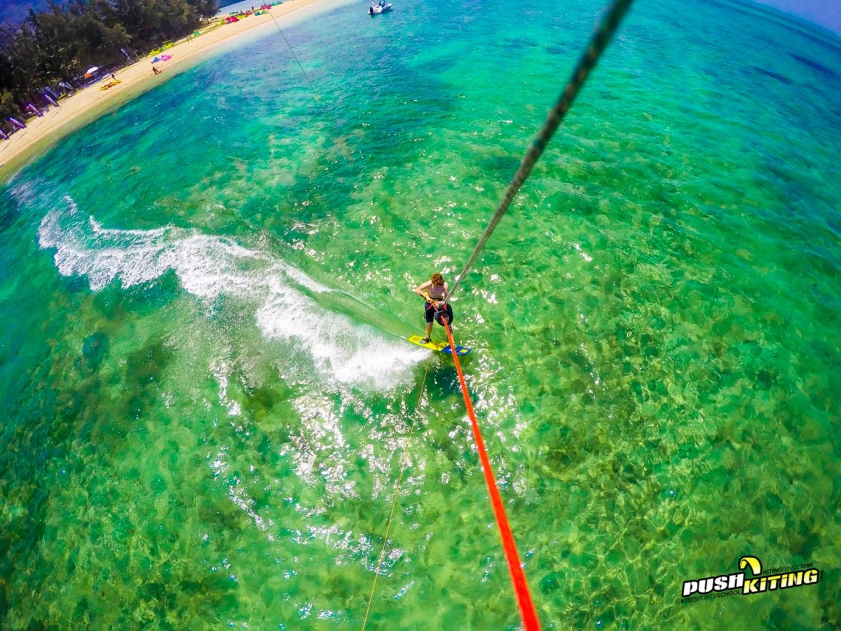 David Ursell Kitesurfing the Clear waters of Le Morne Mauritius