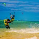 Kitesurfing action
