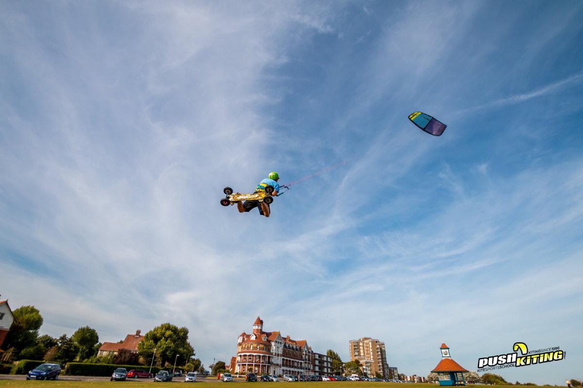Kite land boarding pro rider